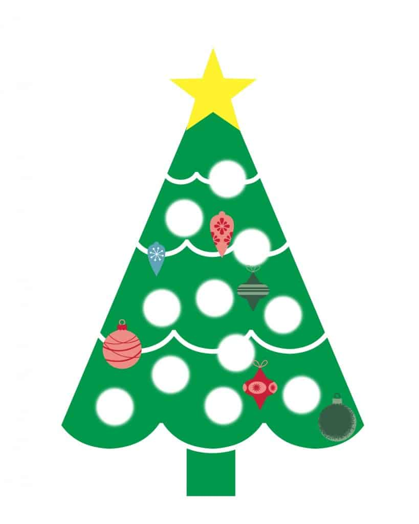 Use tempera paint or ink to fill in the missing christmas ornaments on this tree.