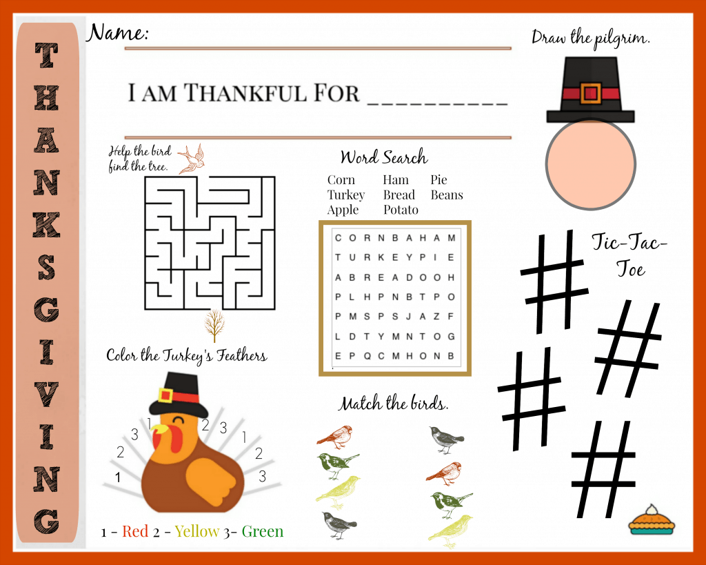 This printable Thanksgiving activity placemat will keep the kiddos busy and occupied during dinner!