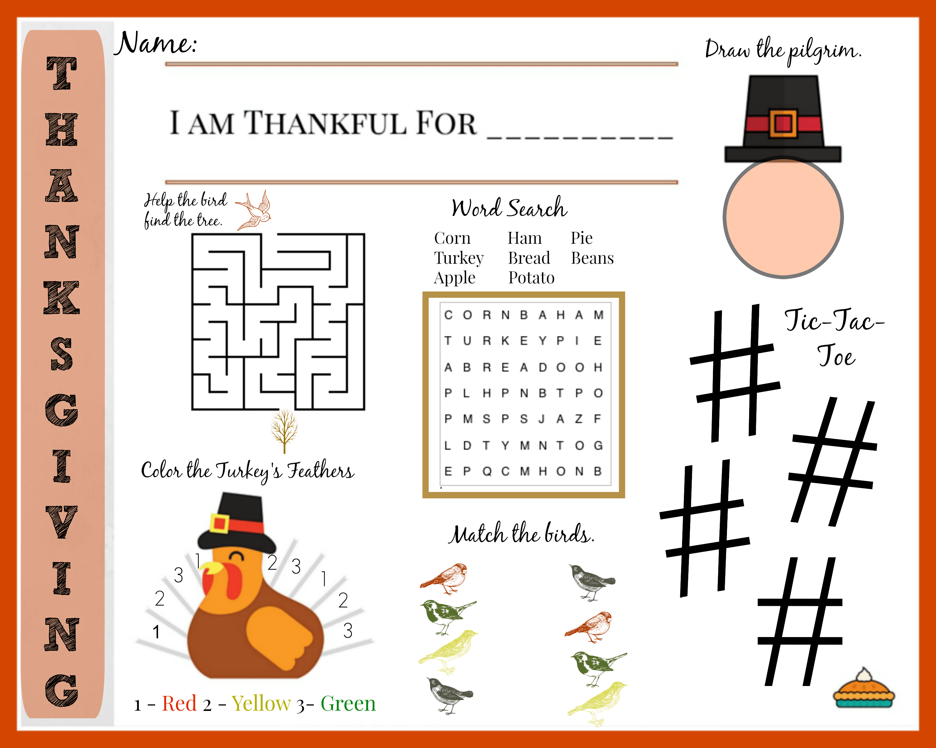 picture about Printable Thanksgiving Placemat named Printable Thanksgiving Placemat for Youngsters with Enjoyment Strategies for