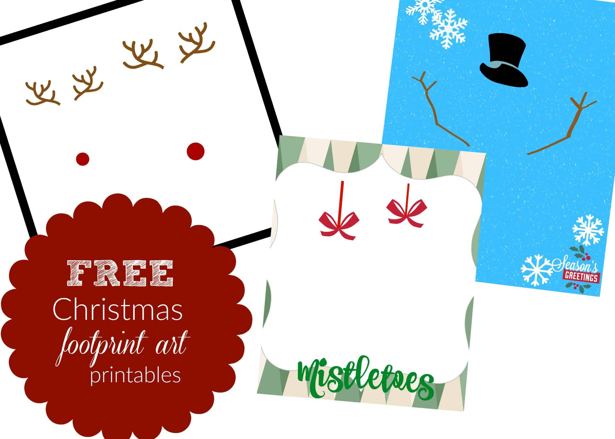 3 Christmas Footprint Art Templates: Free Printables