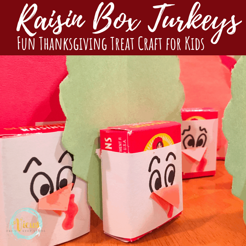 raisin box turkey thanksgiving treat square