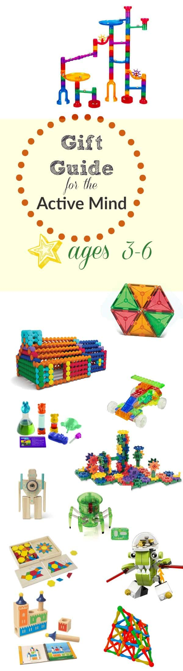 This gift guide includes toys that inspire creativity, critical thinking, logic and active participation in play. Perfect for kids with very active minds!