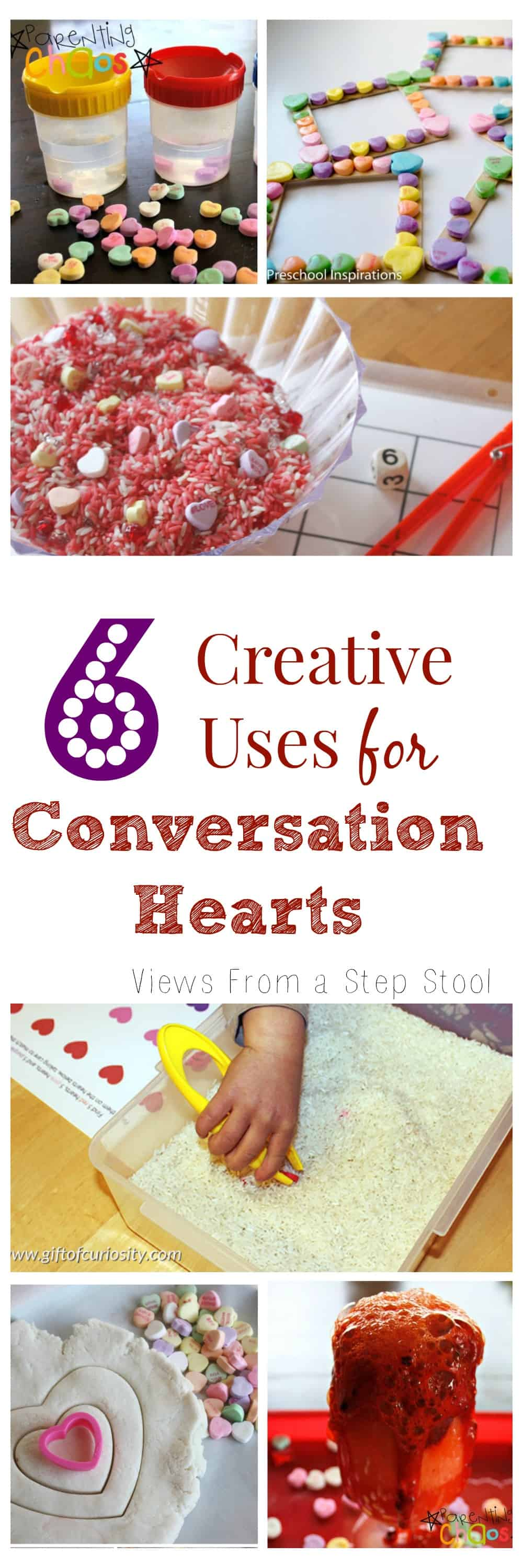 These activities using conversation hearts are perfect for a party, or for keeping the kids busy and learning at home!