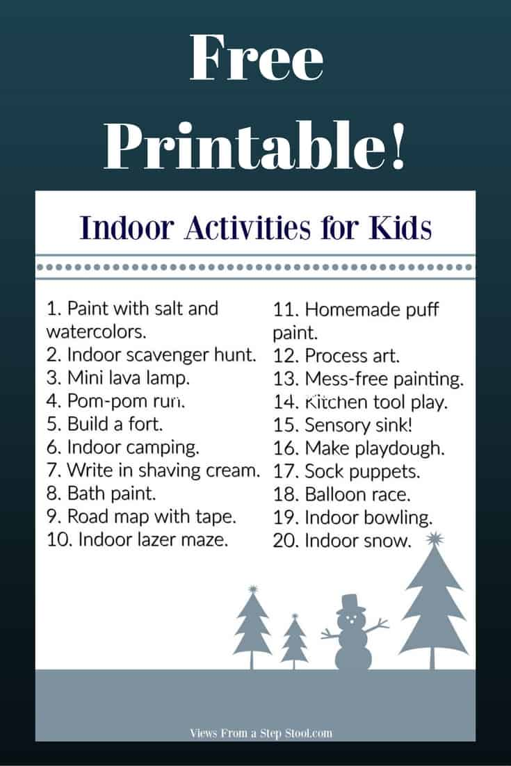 These ideas for indoor kids activities is perfect for those cold and rainy days stuck indoors. Use household items and some creativity for tons of fun!