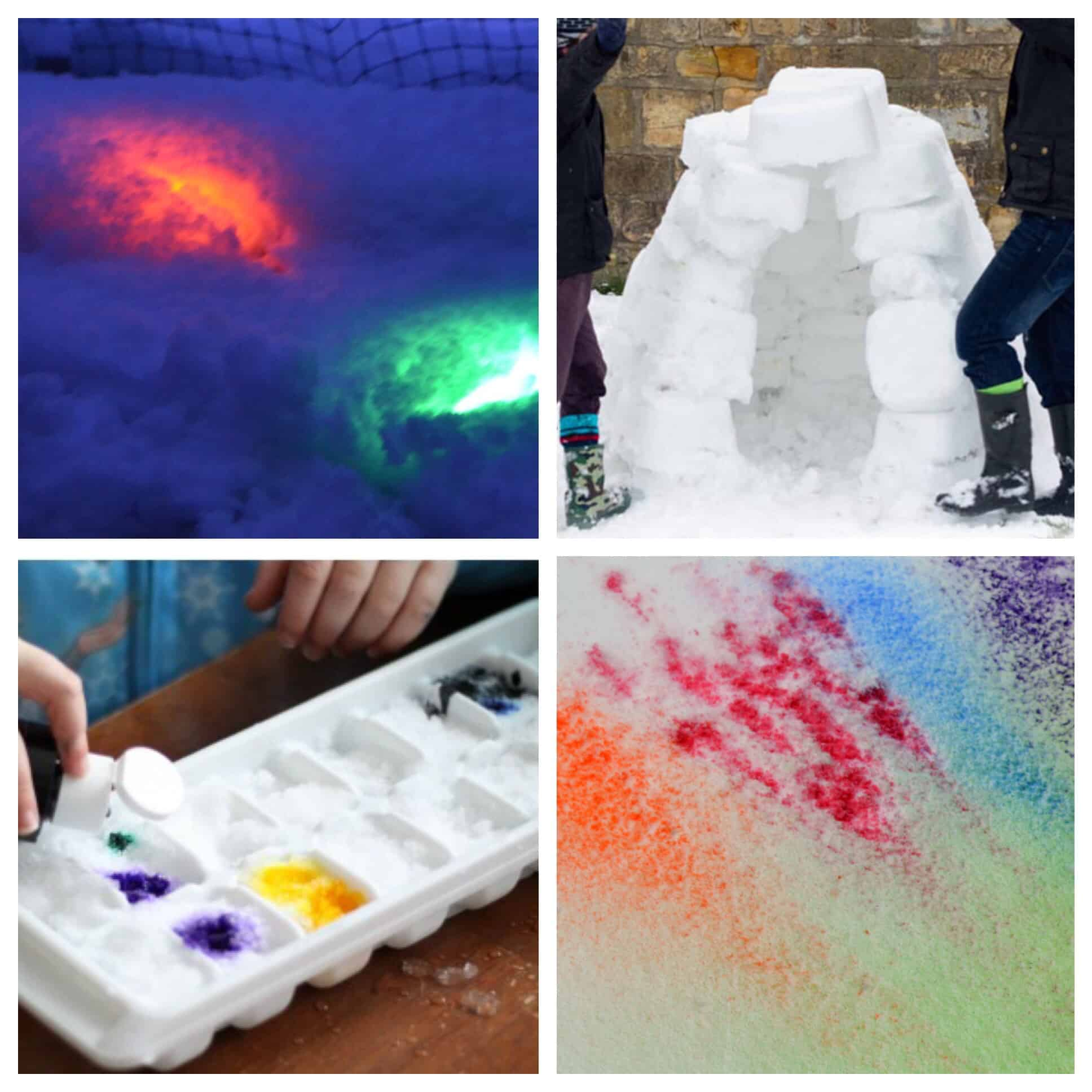 There are so many fun ways to play and learn with snow! From colored bubbles and color mixing to building igloos the play opportunities are endless!