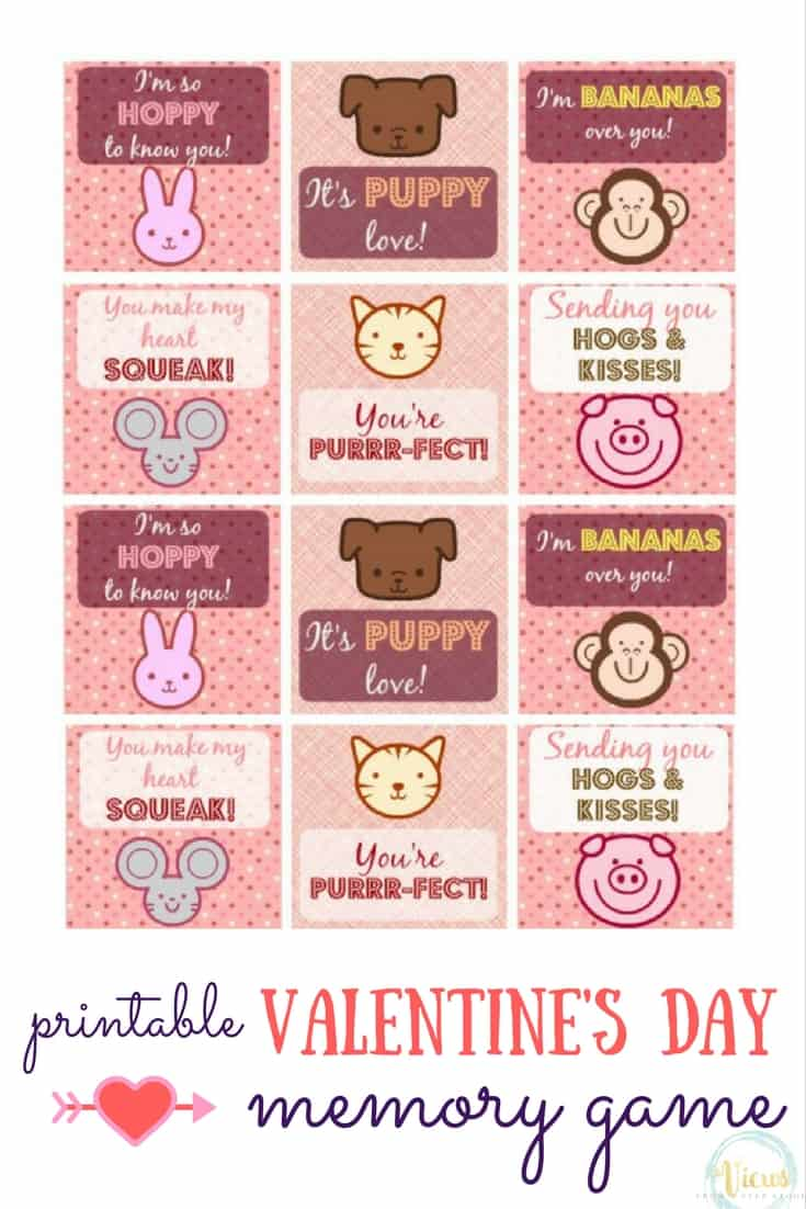 These printable animal Valentine's Day cards have cute sayings on them with fun animal artwork! Perfect for gifting or for playing a game of Memory!