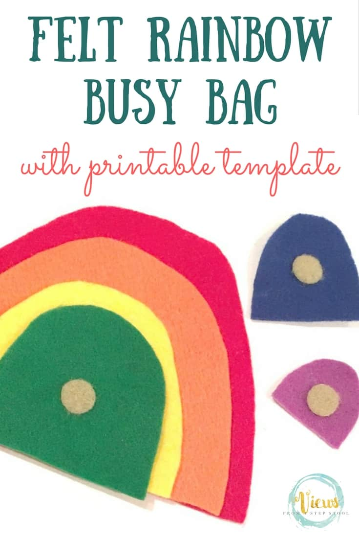 This rainbow busy bag is made out of felt and is so quick and easy to throw together. Kids love it! Printable template included to make it just right!