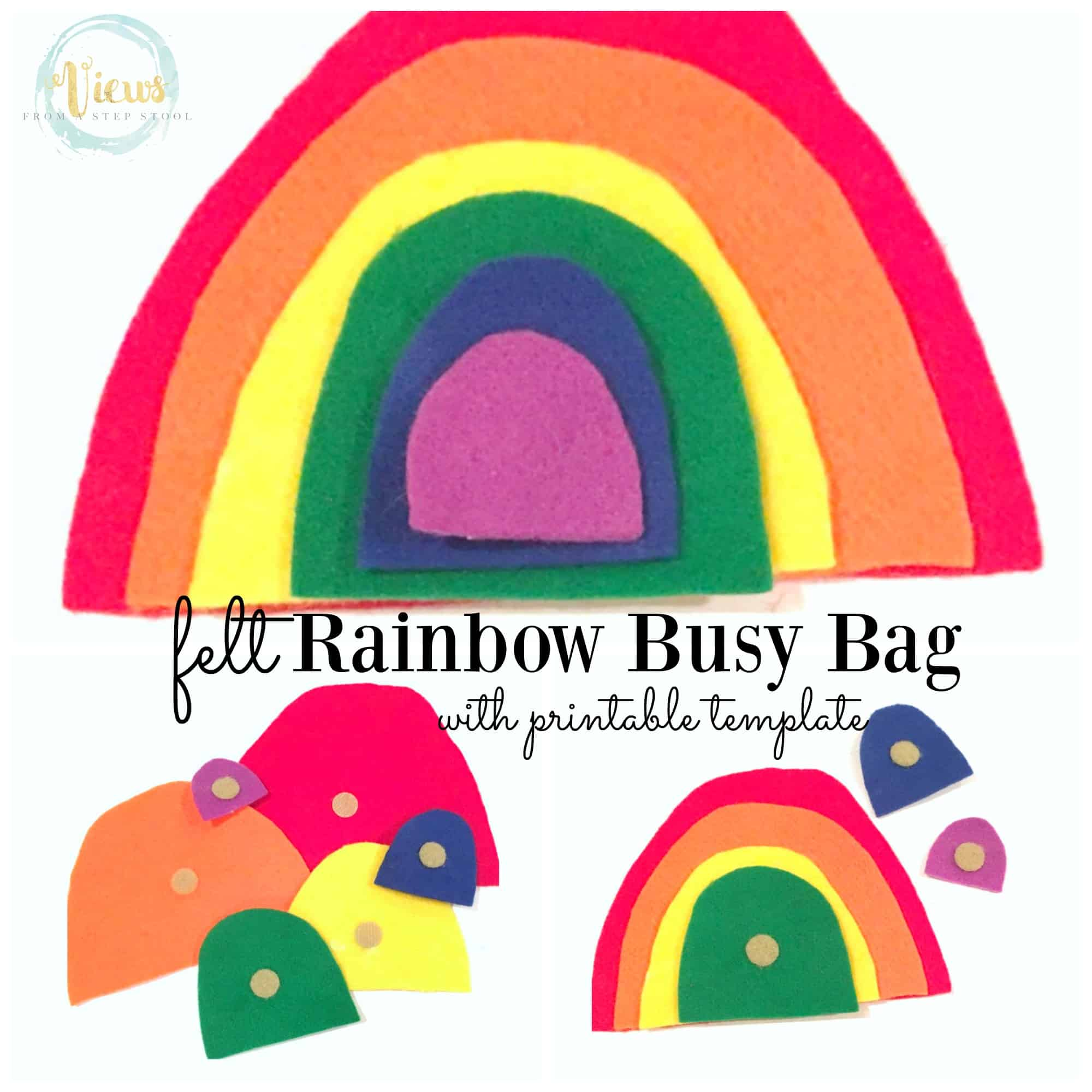 rainbow busy bag square collage