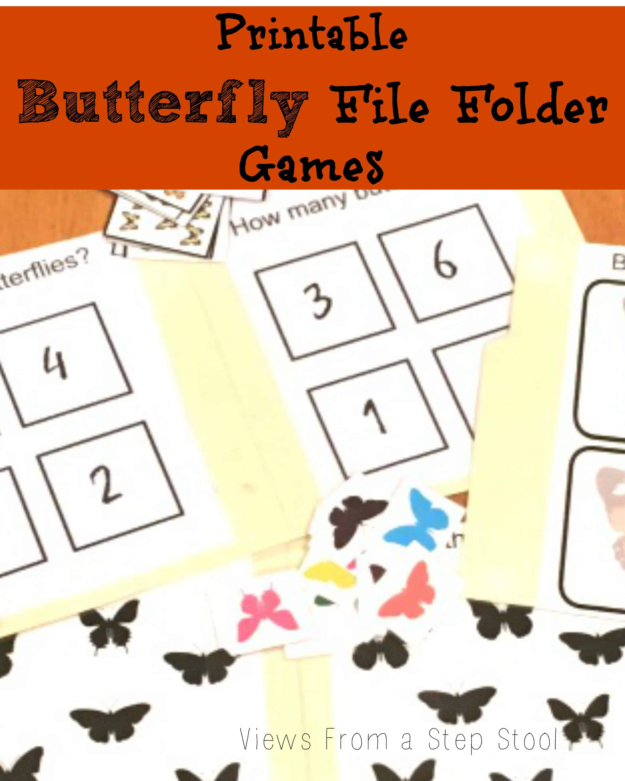 Butterfly File Folder Games: Free Printable!