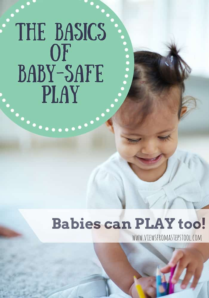 Babies can play too! From edible paint and homemade sensory items, these tips and tricks will get you on the path to making baby-safe play at home! There are so many activities that babies can do too with a few small adaptations. Making things homemade, or swapping out for larger items are just a few of the ideas here! Click through to see the rest!