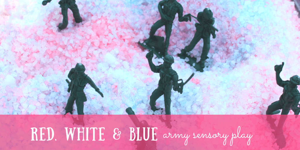 Red, White & Blue Colored Salt Army Sensory Bin