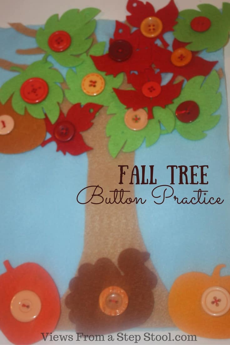 This button practice busy bag is themed for the fall with leaves & pumpkins! Kids can work on fine motor skills by putting the leaves on & taking them off!