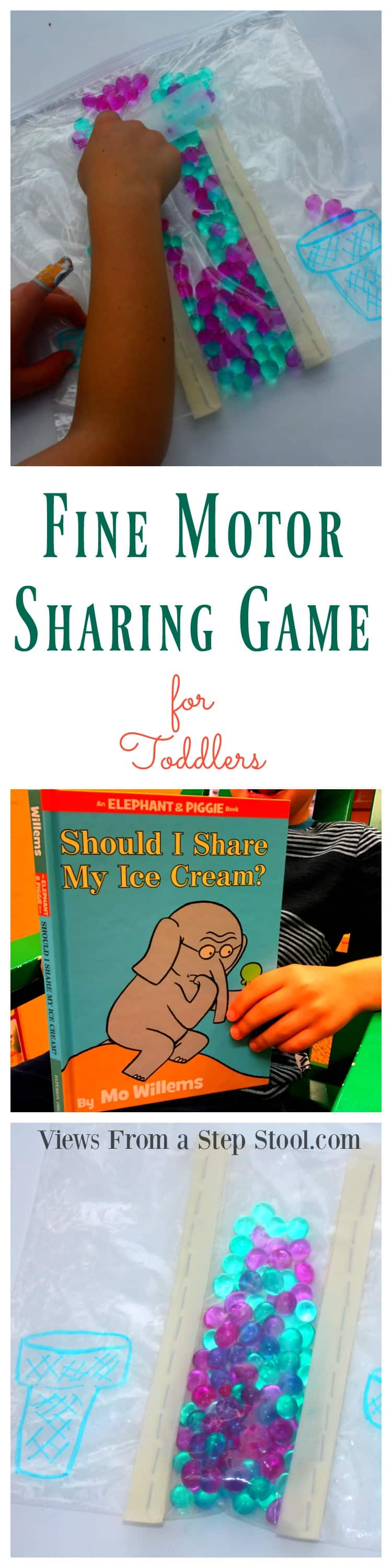 This fine motor sharing game for toddlers practices social skills through play, sharing & turn-taking. Based on the book, Should I Share My Ice Cream.