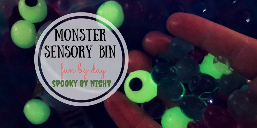 This monster sensory bin is the perfect way to get ready for Halloween, engaging all the senses. It's fun by day, and spooky by night!
