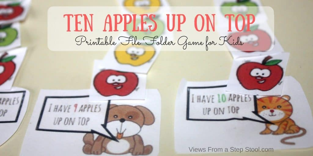 This Ten Apples Up On Top file folder game for kids is a way to combine books and learning. Use the free printable game to practice counting with your kids.