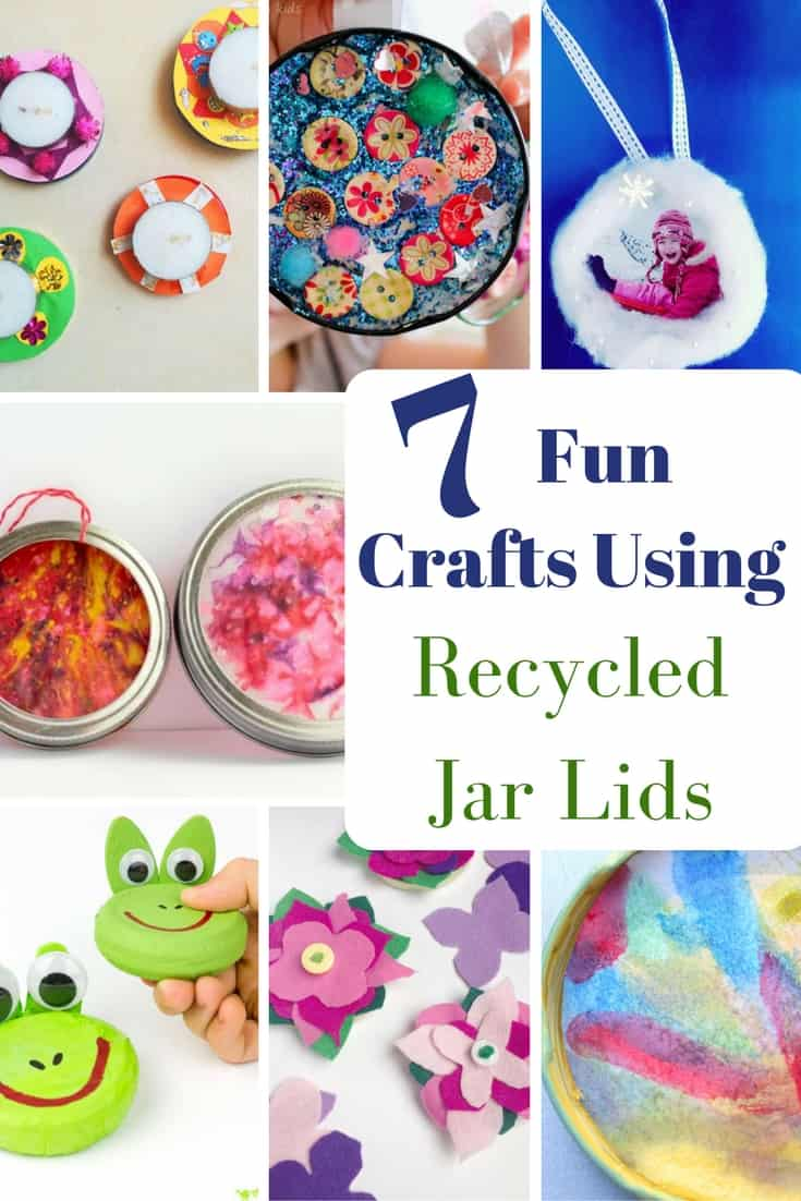 A fun collection of crafts using recycled jar lids.