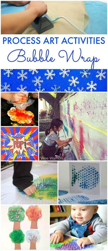 Process art activities using bubble wrap to keep kids engaged int heir art process!