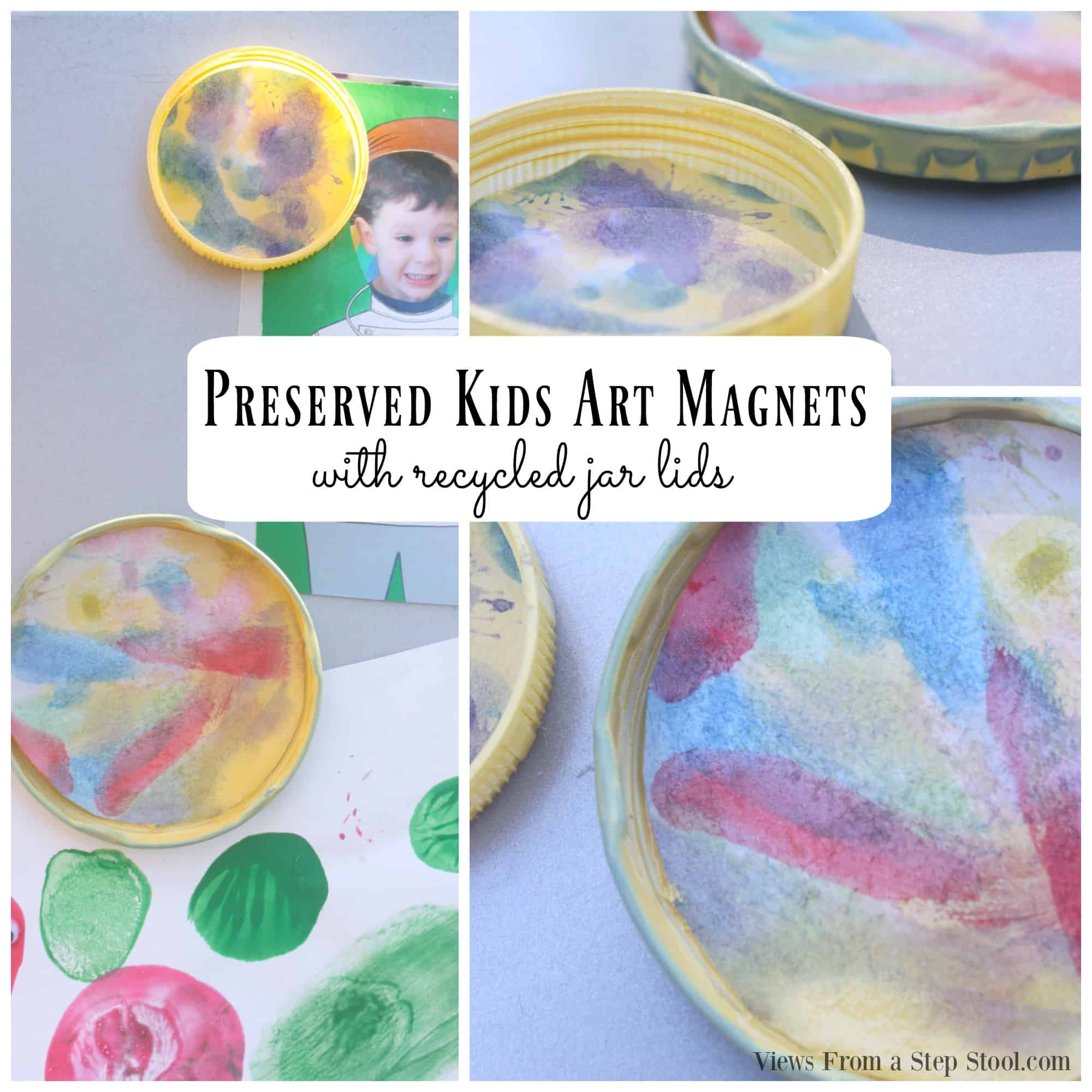 Recycle your old jar lids with these preserved kids art magnet craft that your kids can help you with! They will looks great on your refrigerator!
