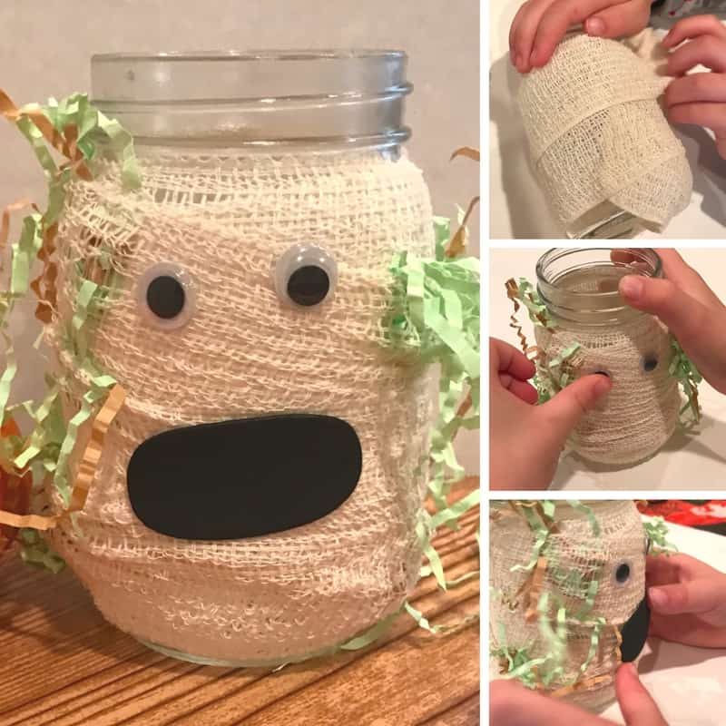 This adorable little mummy mason jar is simple enough for kids to make, and cute enough to serve as some festive Halloween decor!