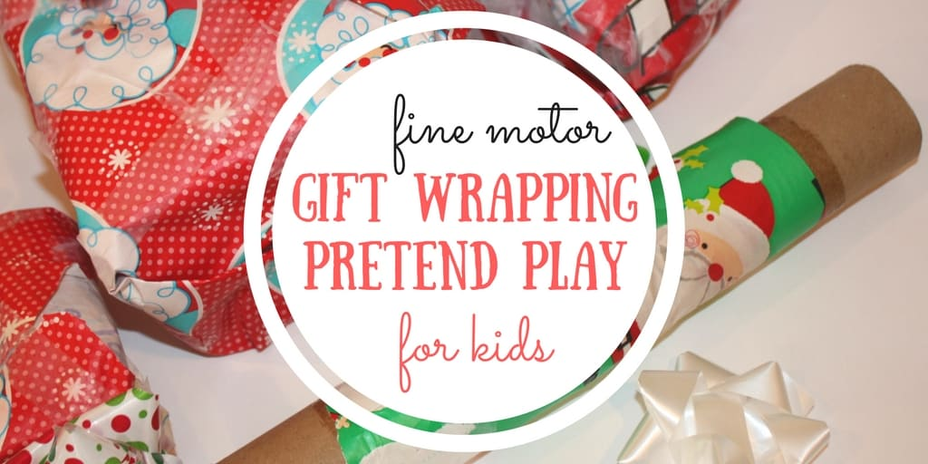 Gift Wrapping Pretend Play and Fine Motor Practice with Recyclables