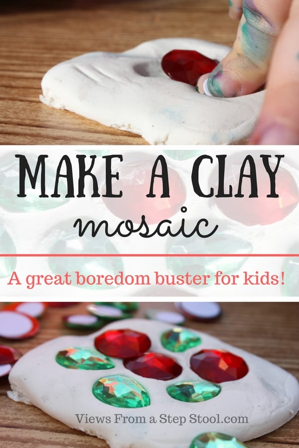 This clay mosaic process art is the perfect boredom buster for kids! The air dry clay last a long time, and is not sticky, perfect for making a mosaic over and over again!