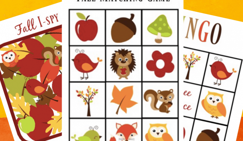 Printable Fall Matching Game, Bingo and I-Spy for Preschoolers