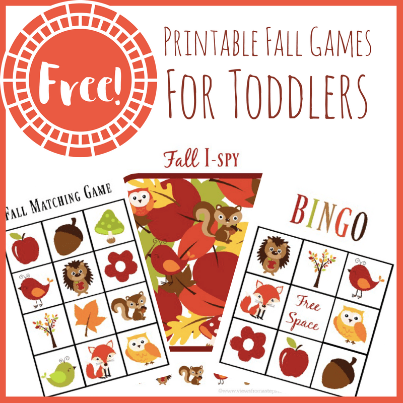 These printable fall games for toddlers will keep your little ones busy and having fun! Included are a matching game, Fall Bingo, and Fall I-Spy!