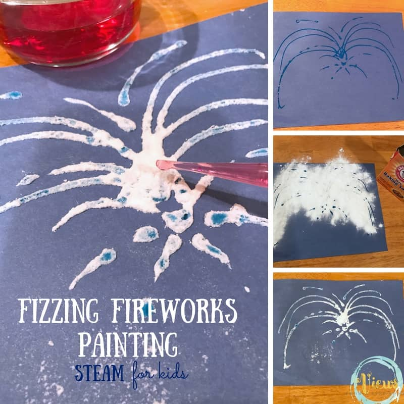 This fizzing fireworks painting project combines art and science to make for a fun activity for kids. Perfect for New Years or the Fourth of July!