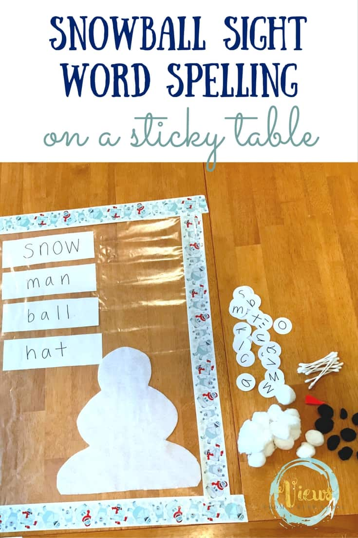 Snowball Sight Words on a Sticky Table