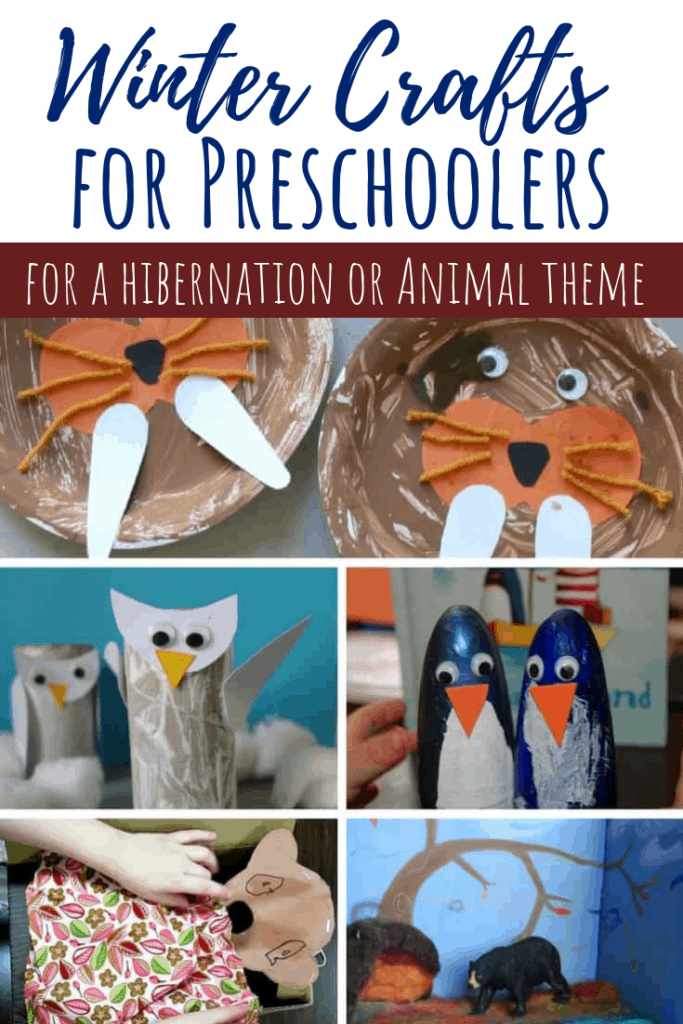 winter crafts for preschoolers animal pin collage