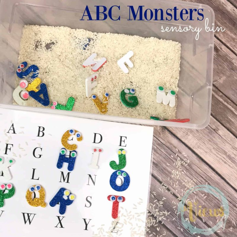 ABC monsters sensory bin fb