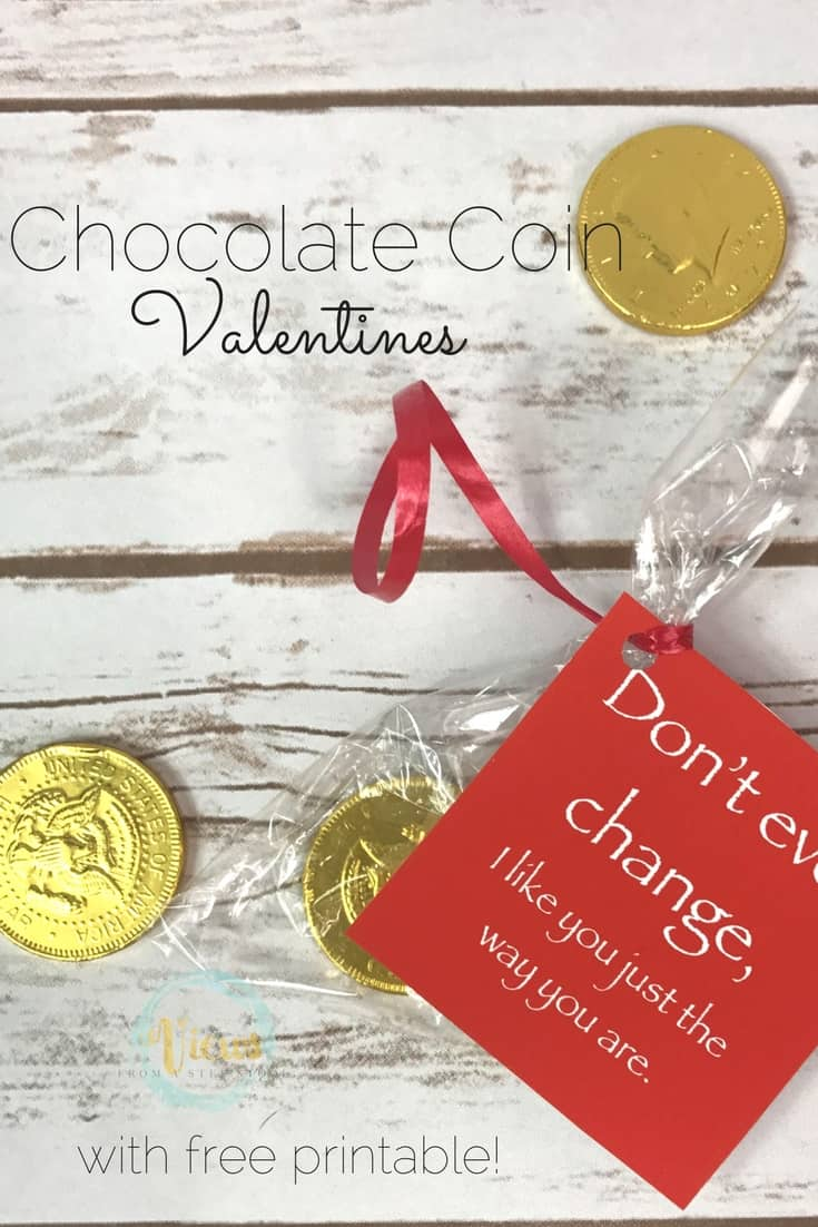 Chocolate Coin Valentines plus Free Printable Gift Tag