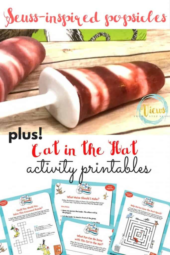 These healthy Cat in the Hat inspired popsicles are the perfect treat on a hot day, or when celebrating Dr. Seuss! Kids will love these!