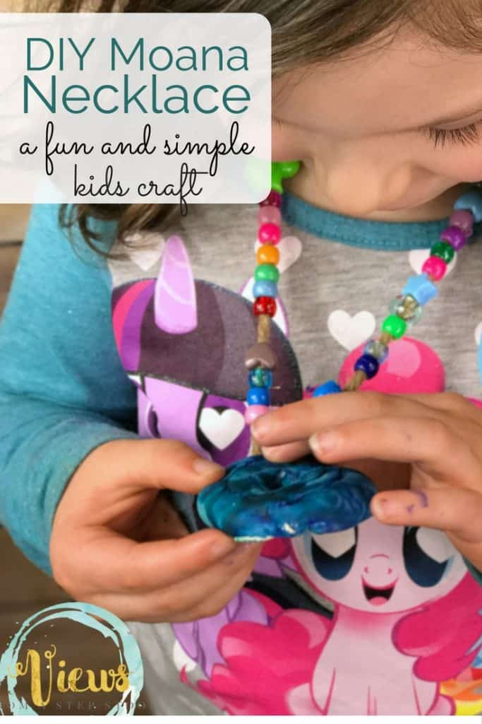 This simple DIY Moana necklace is great for kids of all ages. Easy to make with very few materials, perfect for pretend play or dress-up! This Moana necklace craft is too fun.