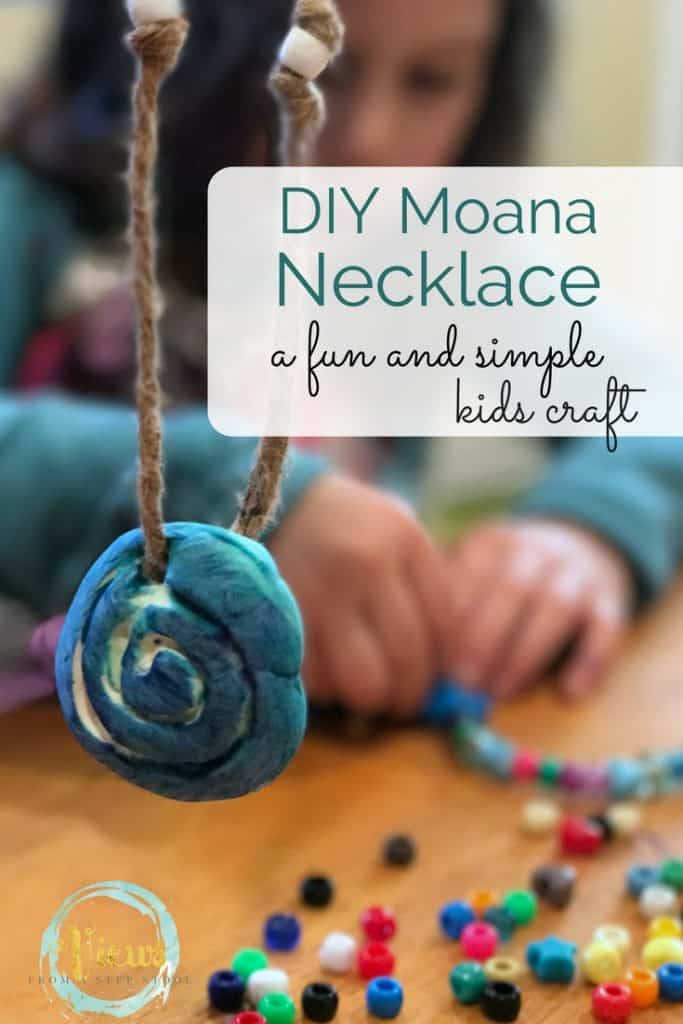 This simple DIY Moana necklace is great for kids of all ages. Easy kids craft to make with very few materials, perfect for pretend play or dress-up! An awesome Moana's necklace craft!