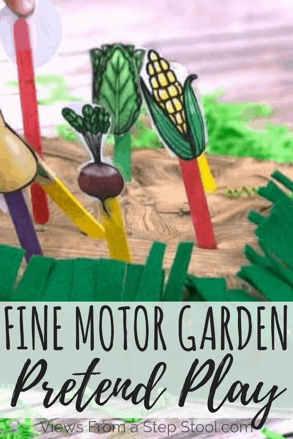 This garden pretend play activity is perfect for preschoolers! So much learning from vegetable identification, how plants grow & fine motor exercise!