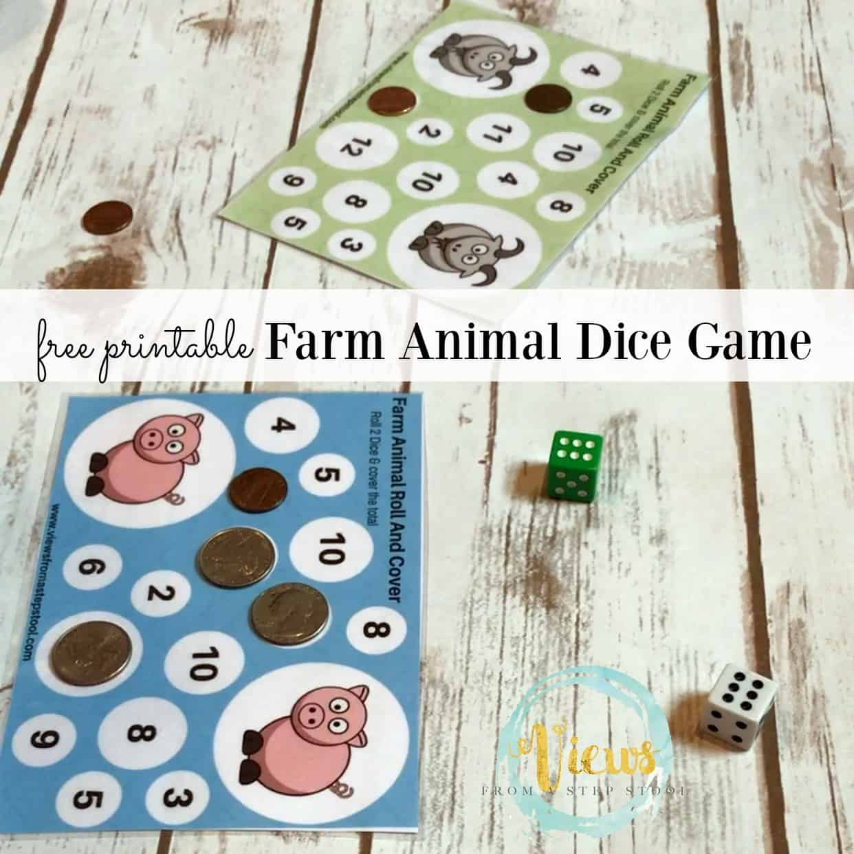 Playing dice games is one of the best ways for young learners to learn math skills. Grab these free printable farm animal roll, count and cover dice games!