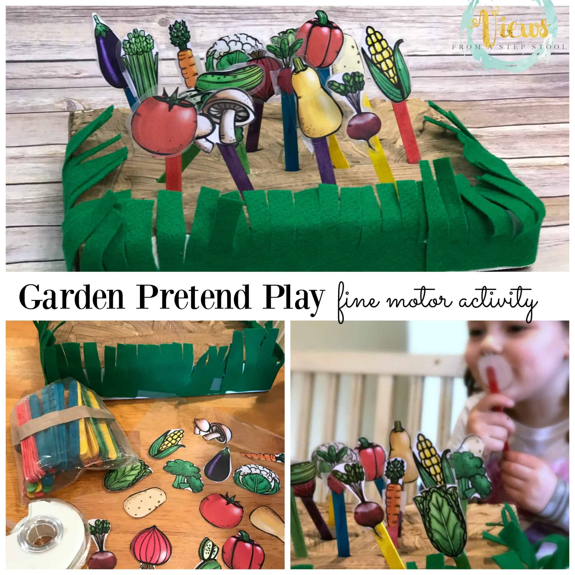 This fine motor garden pretend play activity is perfect for preschoolers! They are learning so much from this project, from vegetable identification, how plants grow and even fine motor exercise