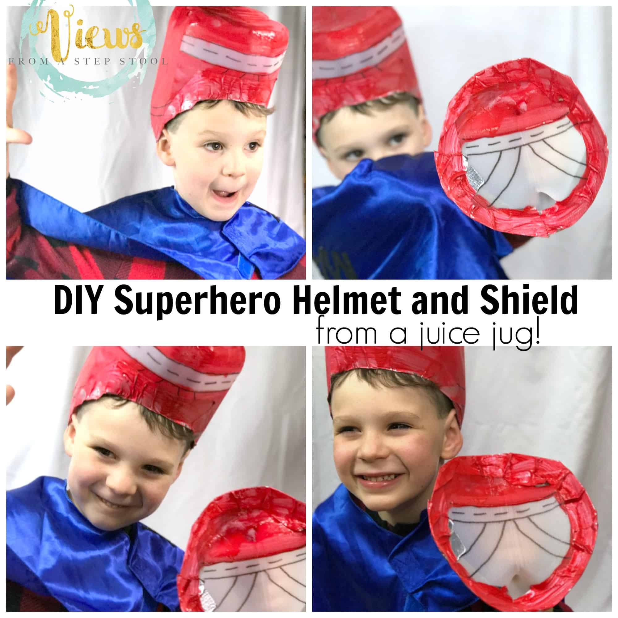 Turn an ordinary plastic jug into DIY superhero costume accessories! Make a superhero helmet and a shield!
