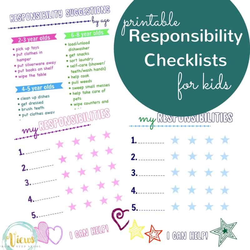 Print this responsibility checklist for kids along with the suggestions by age to get your kids excited about helping around the house!
