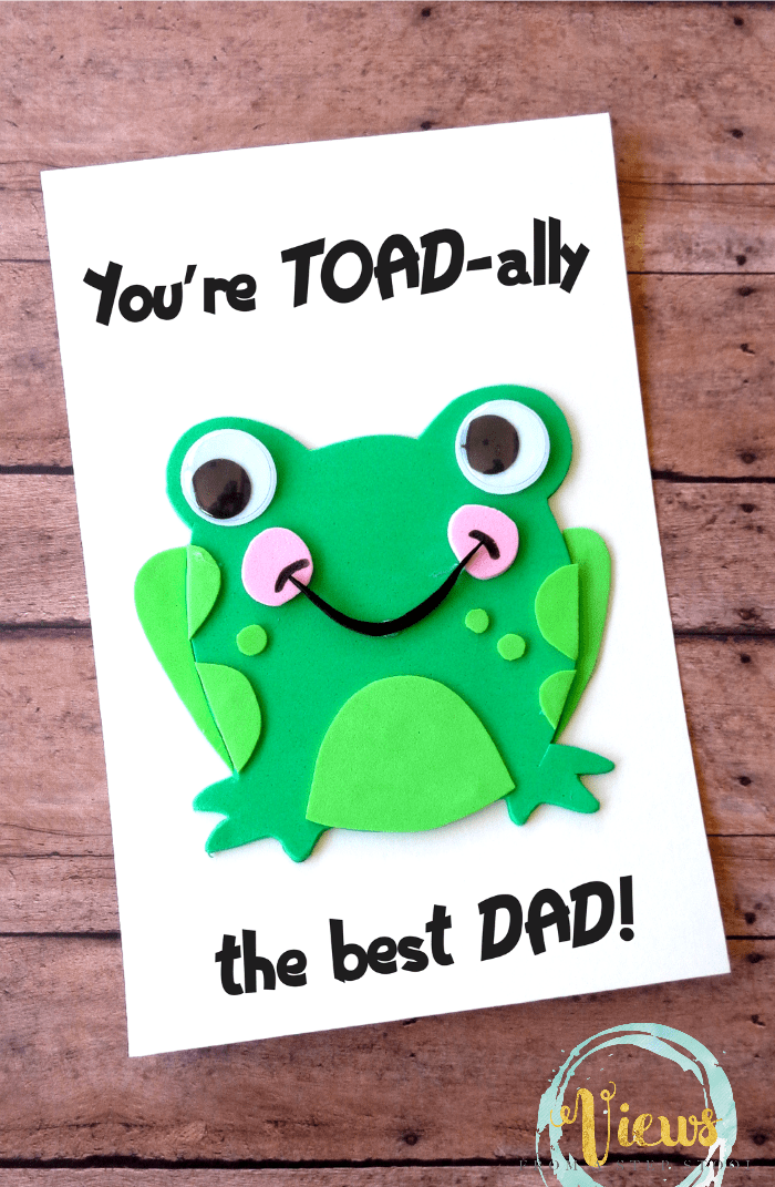 This toad-inspired handmade Fathers Day card is perfect for kids to make for the dad in their lives. They will love crafting and giving this one!