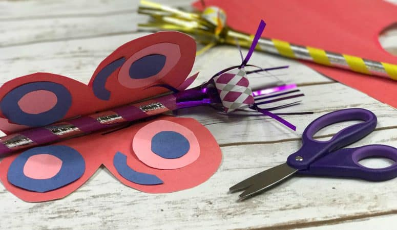 Paper Butterfly Craft for Kids with a Party Horn Tongue