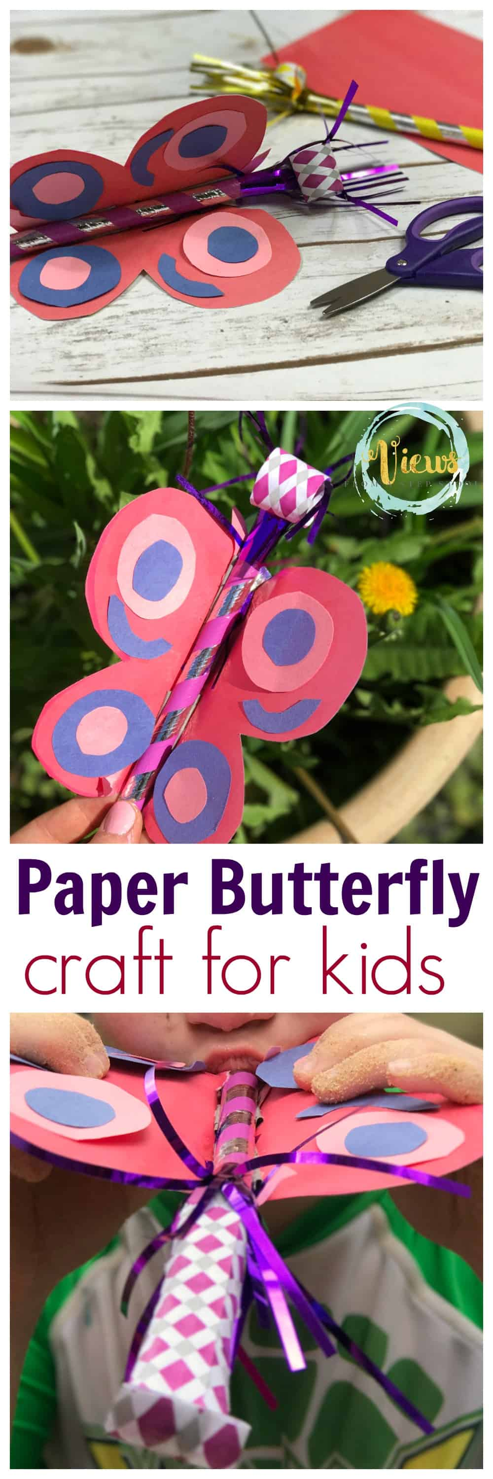 This paper butterfly craft for kids has a party horn as a realistic tongue for pretend play!