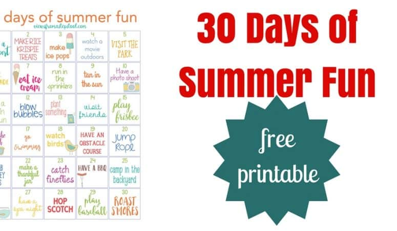 30 Days of Summer Fun Free Printable Calendar