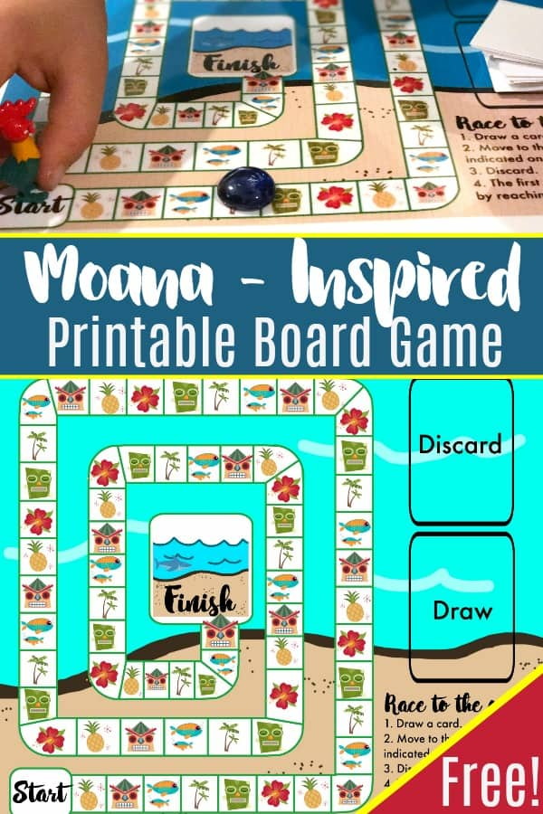 This Moana-inspired Island printable board game is a great freebie to use with preschool and up. Race to the Ocean in this fun game!