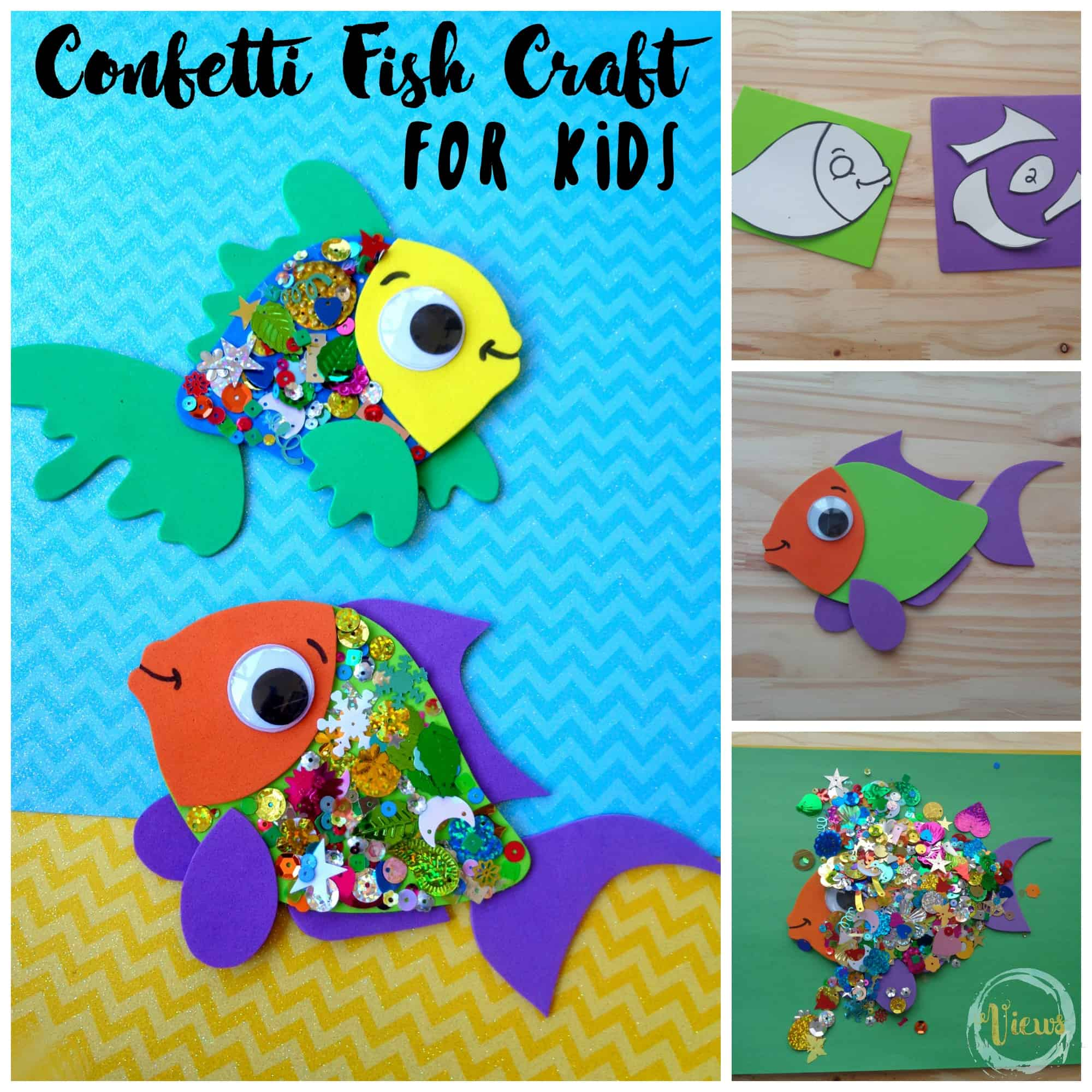 This confetti fish craft for kids is so cute. Perfect for an ocean theme or simply for pretend play. Includes modifications for varying ages.