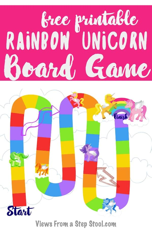 rainbow unicorn board game pin