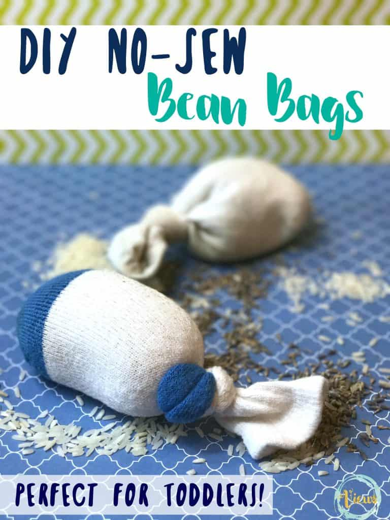 This DIY bean bag toss game is one of our favorite toddler playdate ideas. Even very young kids love to play in dry rice, and scooping and dumping is actually excellent for early learning!