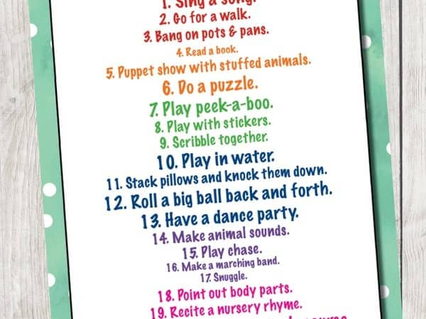 Activities for 1 Year Olds You Can Do Every Day + Printable