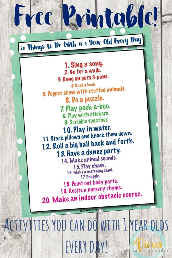 Activities for 1 year olds printable pin